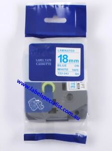 Brother TZe-243 Laminated compatible 18mm x 8m Blue-On-White Tape