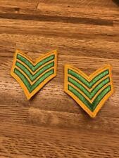 1 PAIR SERGEANT CHEVRON STRIPES GREEN ON YELLOW FOR POLICE SECURITY FIRE ETC NEW
