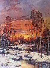 "vintage "" Moon light winter snowy steam church distant village W Thompson"