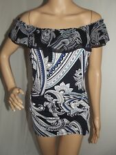 LONG XS BLACK TURQUOISE WHITE OFF SHOULDER RUFFLE GEO BLOUSE top shirt ruched