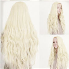 Long Light Blonde Curly Heat Resistant Wavy Cosplay Women's Hair Full Wig Wigs