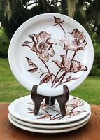 Caribe China Puerto Rico Salad/Luncheon Plate(s) Poppies/Floral Set 4 Rust Brown