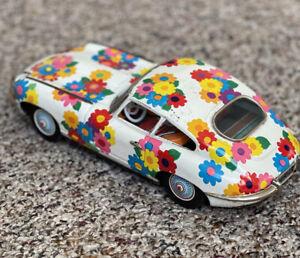 Vtg Flower Power Tin Jaguar Car - Good Shape And Darling