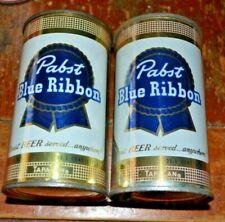 Pair of Pabst Blue Ribbon Tapacan Flat Top Beer Cans Vanity Lids
