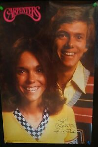 "Vintage Carpenters DOWNEY FAN CLUB"" Poster Karen Carpenter 1975"