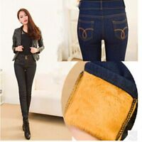 Winter Women Jeans Thickening Denim Pants High Waist Winter Warm Fleeces Inside