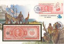 superbe enveloppe EL SALVADOR billet de banque 1 Colon 1982 UNC NEUF + TIMBRES