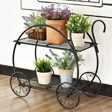 Heavy Duty Metal Flower Cart Pot Rack Plant Display Stand Holder Decor