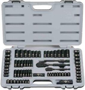 Stanley Black Metric SAE Chrome Reversible Ratchet Socket Set 69 Piece 6 Point