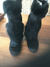 VINTAGE TECNICA Apres Ski FUR BOOTS 41 MADE IN ITALY BLACK