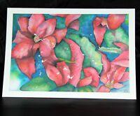 Poinsettia Flowers Watercolour Art Blank Greeting Card by Barbara Passmore