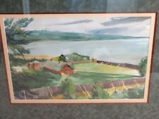 """*ORIGINAL & SIGNED* Earl Gross Watercolor Painting  for  """"FORD MOTOR TIMES* 1965"""