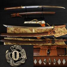 1095 Steel Double Groove FullTang Blade Dragon&Snake Tsuba Japanese Sword KATANA