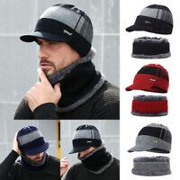 2019 New Men Winter Warm Hat Knit Visor Beanie Fleece Lined Beanie with Brim Cap