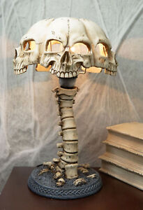 Evil Resurrection Ossuary Skulls Shade W/ Skeleton Bone Spine Column Table Lamp