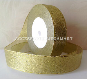 3m Metallic Gold sparkling Organza Ribbon 25mm 1 inch wide for Party weddings
