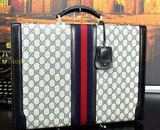 GUCCI Authentic Black Sleek Leather CEO Hardcase Briefcase Bag Mens Key lock