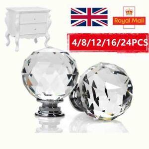 Door Handles Diamond Cupboard Wardrob Door Knobs Clear Crystal Cabinet Draw Pull
