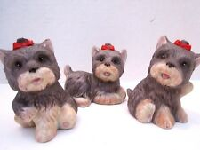 """3 Yorkshire Terrier Puppies Dogs w/Red Bows. #1475 Homco 3 1/4"""" Tall. Ceramic."""