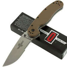 Ontario Coyote Brown RAT 1 AUS-8 Pocket Folding Folder Knife 8849CB Serrated