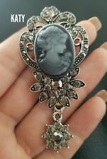 Large Vintage Victorian Style Crystal  Cameo Brooch Silver Diamante Flower Pin