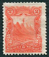 NICARAGUA 1893 2c vermilion SG58 mint FG Volcanoes a3