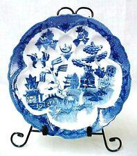 Blue Willow Porcelain China Olive Escargot Plate Dish Oriental Birds Pagodas New