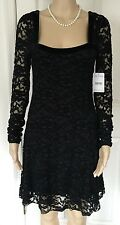 FREE PEOPLE Dress Black Lace Velvet Lined Long Sleeves LBD NWT $128 NEW SZ M