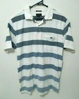 Rodd & Gunn Mens Shirt Size M Original Fit White Striped Short Sleeve Polo EUC