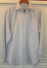 ERMENEGILDO ZEGNA LIGHT BLUE W/BROWN STRIPES MENS SHIRT 17, 43 Large