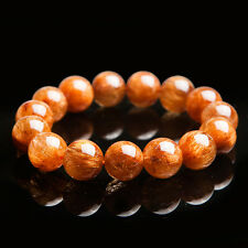 Natural Copper Rutilated Quartz Crystal Round Beads Bracelet 14mm AAAA