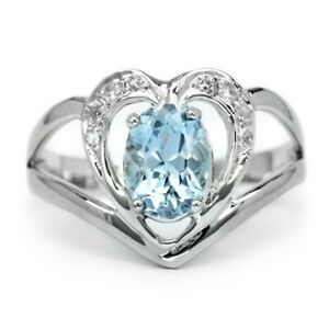 8x6mm Natural Light Blue Aquamarine Ring With Zircon in 925 Sterling Silver