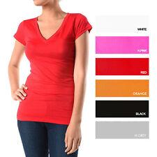 LADIES V-NECK T-SHIRTS (95% COTTON 5% SPANDEX)