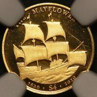 2020 BVI Mayflower 400th Ann. 0.5 gram Gold Coin - NGC PF 70 UCAM - 102 Made