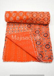 Indian Vintage Kantha Quilt Bedspread Throw Cotton Blanket Bed Cover Ajrak Print