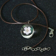 Crystal Leather Chain Glass Ball Peach Blossom Necklace Dried Flower Pendant