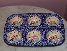 Polish Pottery UNIKAT Muffin Pan! Paper Lanterns Pattern!
