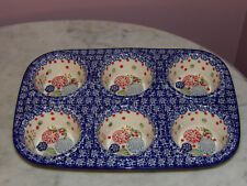 Genuine UNIKAT Artist Signed Polish Pottery Muffin Pan! Paper Lanterns Pattern!