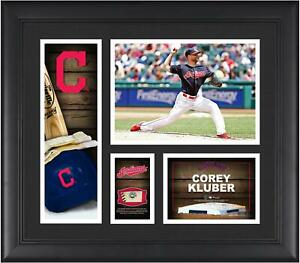 """Corey Kluber MLB Indians Framed 15"""" x 17"""" Player Collage with Game Ball Piece"""