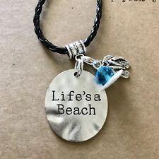 """Life's a Beach"" w Flip Flops Charm Necklace leather 18"" handmade USA 1320"