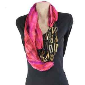 Pink Silk Necklace Infinity Cowl Scarf with Buffalo Horn