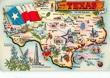 Map postcard Greetings from Texas The Lone Star State chrome large letter