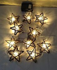 (2) Qvc Ed On Air 10' Rattan Star Light Strand w/ Timer By Ellen DeGeneres