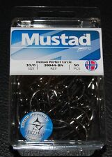 50 Mustad 39944Bn-100 Classic In-Line Demon Perfect Circle Hooks Size 10/0