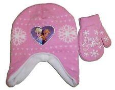 Disney Frozen Girls Pink Knit Scandinavian Hat & Gloves Set