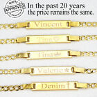 14K Gold Filled Baby Bracelet With Engraving 6' adjustable for new born baby