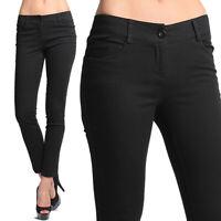 TheMogan Faux Leather Side Stripe High Waisted 4-Way Stretch Ponte Skinny Pants