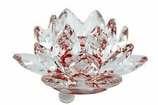 """Stunning 3.5"""" Clear & Red Hue Reflect Crystal Lotus Home Decor Gift USA Seller"""