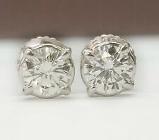 0.80 TCW H/SI2 Round Diamond Solitaire Stud Earrings 14K White Gold Screw Backs