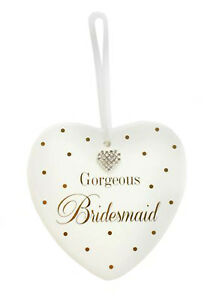 Gorgeous Bridesmaids Ceramic Sparkly Hanging Heart Gift Ivory and Gold Daimante